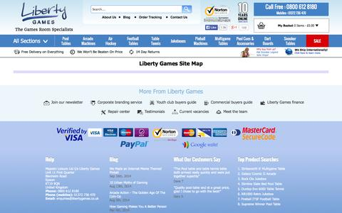 Screenshot of Site Map Page libertygames.co.uk - Site Map | Liberty Games - captured Sept. 19, 2014