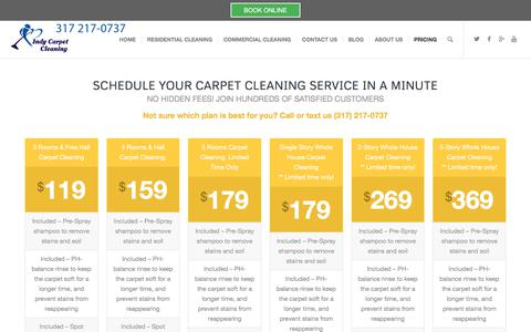 Screenshot of Pricing Page indycarpetcleaning.com - Carpet Cleaning Pricing - Carpet Cleaning Indianapolis - captured June 7, 2017