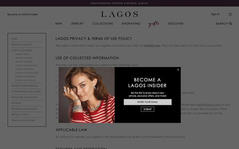 Screenshot of Privacy Page lagos.com - LAGOS Jewelry | Privacy Policy & Terms of Use - captured Dec. 7, 2018