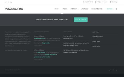 Screenshot of Contact Page powerlinks.com - Powerlinks  » Contact - captured Sept. 19, 2014