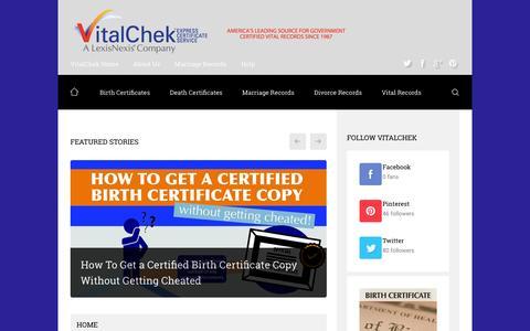 Screenshot of Blog vitalchek.com - Home - VitalChek BlogVitalChek Blog   Birth Certificates   Death Certificates   Marriage Records   Divorce Records   Vital Records - captured Feb. 15, 2016