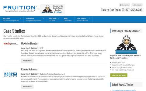 Screenshot of Case Studies Page fruition.net - Case Studies - FRUITION - captured Oct. 10, 2014
