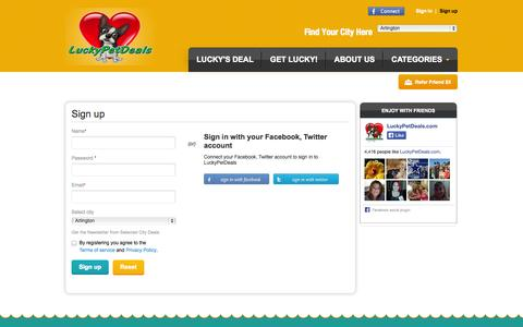 Screenshot of Signup Page luckypetdeals.com - LuckyPetDeals | User sign up - captured Nov. 2, 2014