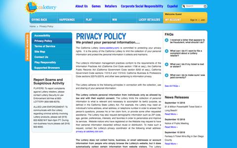 Screenshot of Privacy Page calottery.com - Privacy Policy - captured Sept. 21, 2018