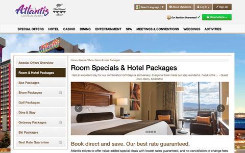 Screenshot of atlantiscasino.com - Room and Hotel Packages | Atlantis Hotel Reno - captured March 20, 2016