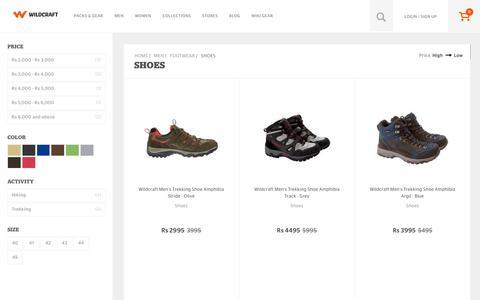 Screenshot of wildcraft.in - Buy Wildcraft Mens Trekking and Hiking Shoes Online in India - captured March 19, 2016