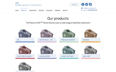 Screenshot of Products Page gmt-europa.com - Products | Global Medical Technology - captured Oct. 27, 2014