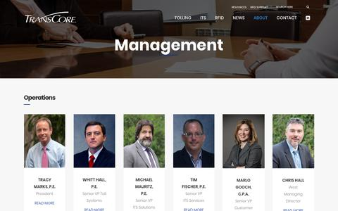 Screenshot of Team Page transcore.com - TransCore | Management - captured Sept. 21, 2018