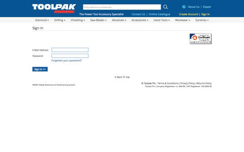 Screenshot of Login Page toolpak.co.uk - Toolpak Power Tool Accessories - captured July 13, 2018