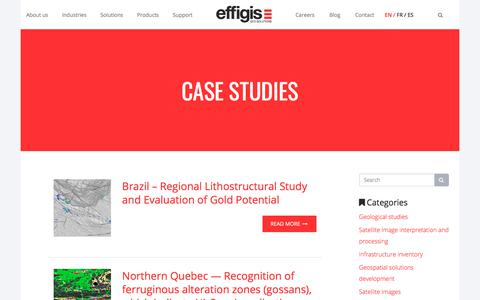 Screenshot of Case Studies Page effigis.com - Case Studies and projects of our clients | Effigis - captured July 16, 2018