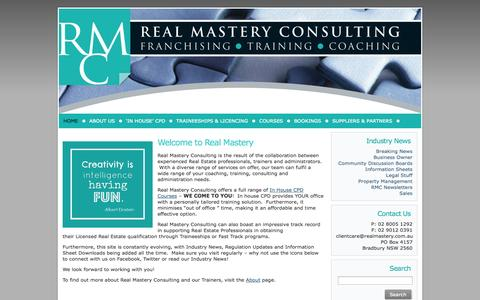 Screenshot of Home Page realmastery.com.au - Home - - captured Oct. 9, 2014