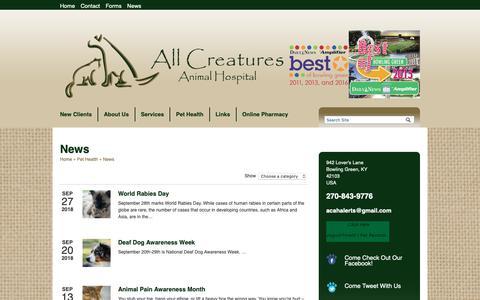 Screenshot of Press Page allcreaturesanimalhosp.com - News   Veterinarians Bowling Green Kentucky   All Creatures Animal Hospital - captured Oct. 3, 2018