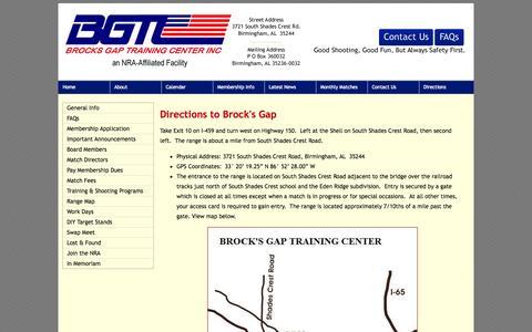 Screenshot of Maps & Directions Page brocksgap.com - Brock's Gap Training Center, Hoover, Alabama - Directions to Brock's Gap - captured Oct. 5, 2014