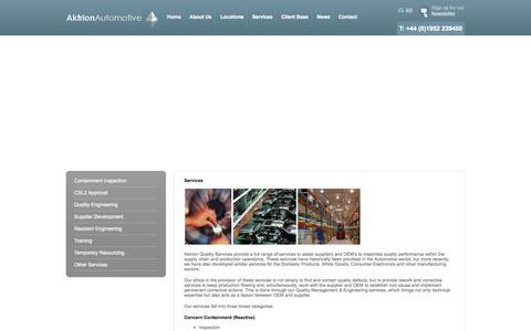 Screenshot of Services Page aktrionautomotive.com - Services - captured Oct. 4, 2014