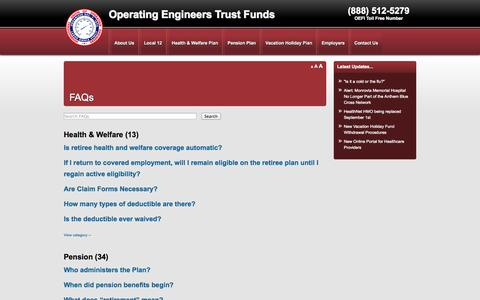 Screenshot of FAQ Page oefi.org - FAQs - Operating Engineers Trust Funds - captured Oct. 7, 2014