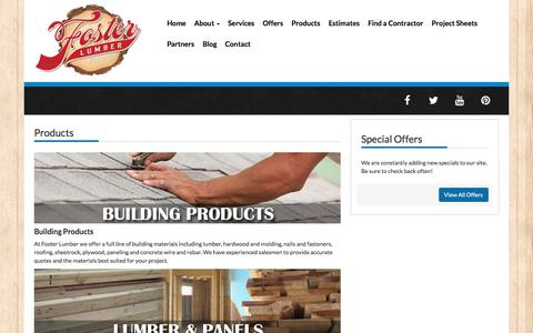 Screenshot of Products Page fosterlumber.com - | Foster Lumber- Vallejo, CA | Fairfield, CA - captured Feb. 11, 2018