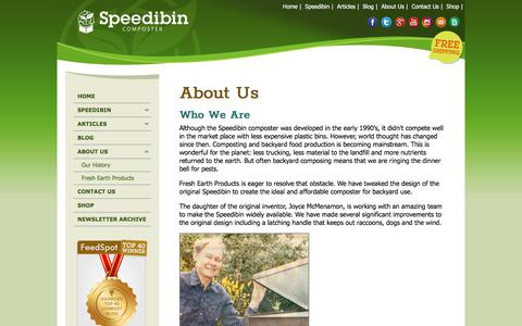 Screenshot of About Page speedibin.com - About the Speedibin Composter - Easy Assembly, Locally Made – Speedibin Composters - captured Sept. 21, 2018