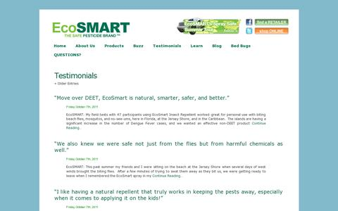 Screenshot of Testimonials Page ecosmart.com - Testimonials «  Safe Pesticides for Home | EcoSMART Organic Insecticide Bug Spray - captured July 19, 2014
