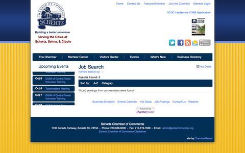 Screenshot of Jobs Page schertzchamber.org - Job Search - Schertz Chamber of Commerce - Schertz, TX - captured Oct. 4, 2014
