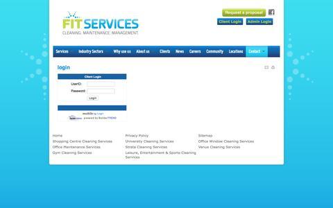 Screenshot of Login Page fitservices.com.au - Client Login - captured March 7, 2016