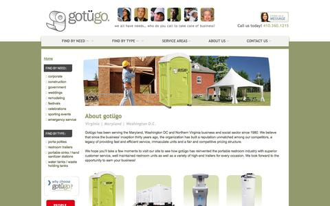 Screenshot of About Page gotugo.com - Porta Potty Rentals About Us | Rent in DC, VA & MD | gotügo - captured Sept. 30, 2014