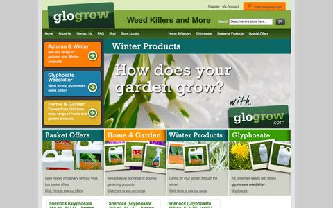 Screenshot of Home Page glogrow.com - Glyphosate Weed Killer, Tomato Feed, Lawn Feed, Plant Food, Hydroponics and Gardening Supplies - Glogrow - captured Sept. 30, 2014