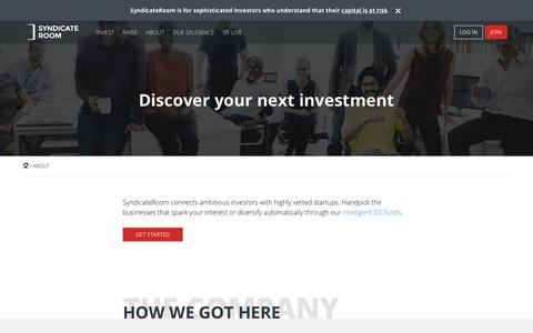 Screenshot of About Page syndicateroom.com - Online Investment Platform | SyndicateRoom Equity Investing - captured Nov. 7, 2018