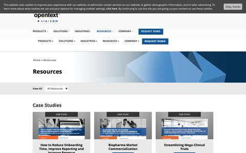 Screenshot of Case Studies Page opentext.com - Resources | Liaison Technologies - captured March 24, 2019