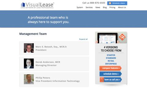 Screenshot of Team Page visuallease.com - Team - Lease Management Software, Lease Auditing, Lease Audits   Visual Lease - captured Oct. 29, 2014
