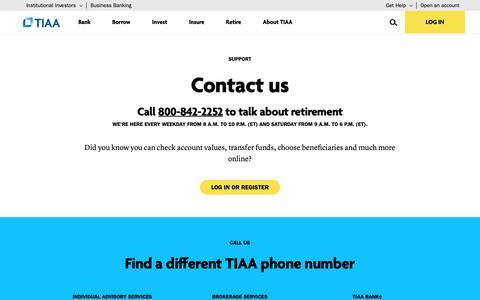 Screenshot of Contact Page tiaa.org - TIAA Customer Service Contact | TIAA - captured Dec. 19, 2018