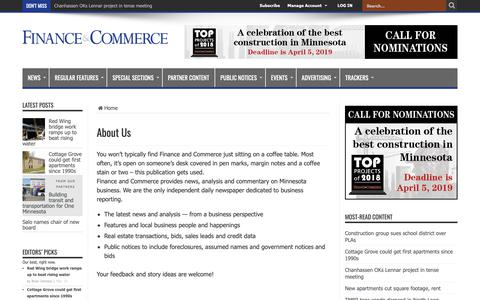 Screenshot of About Page finance-commerce.com - About Us – Finance & Commerce - captured March 14, 2019