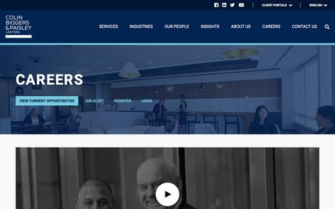 Screenshot of Jobs Page cbp.com.au - Colin Biggers & Paisley Lawyers Careers - captured Sept. 25, 2018