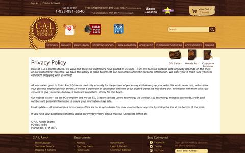 Screenshot of Privacy Page calranch.com - CAL Ranch Privacy Policy - captured Sept. 24, 2014