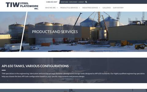 Screenshot of Products Page tiwsteelplatework.ca - Products and Services Archive - TIW Steel Platework Inc. - captured Oct. 19, 2018