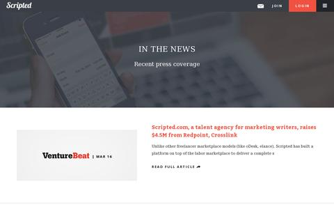 Screenshot of Press Page scripted.com - Press | Scripted - captured July 20, 2014