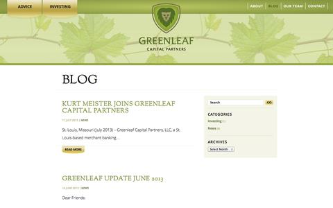 Screenshot of Blog greenleafcp.com - Blog | Greenleaf Capital Partners - captured Oct. 3, 2014