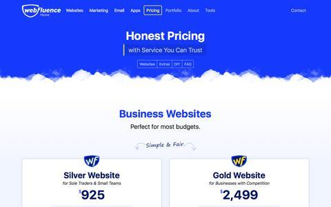 Screenshot of Pricing Page webfluence.com.au - Pricing - Webfluence Business Web Design - captured March 9, 2018