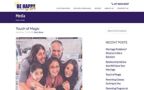 Screenshot of Press Page behappyinlife.com - Media posts   Be Happy in LIFE - captured July 28, 2016