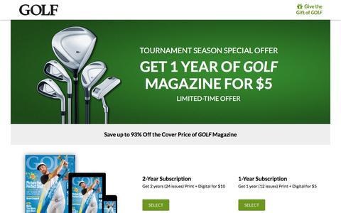 Screenshot of Landing Page golf.com - Golf Magazine Subscription Offer - captured April 6, 2017