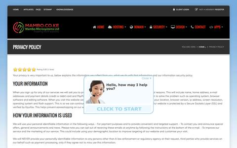 Screenshot of Privacy Page mambo.co.ke - Privacy Policy - Mambo.co.ke - captured Feb. 4, 2016