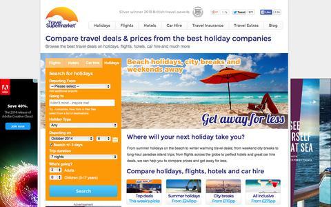 Screenshot of Home Page travelsupermarket.com - Compare Travel Deals - TravelSupermarket.com - captured Sept. 18, 2014