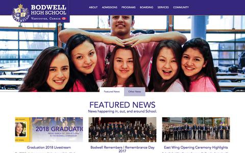 Screenshot of Press Page bodwell.edu - Participate in the News Blog at Bodwell High School - captured Sept. 22, 2018
