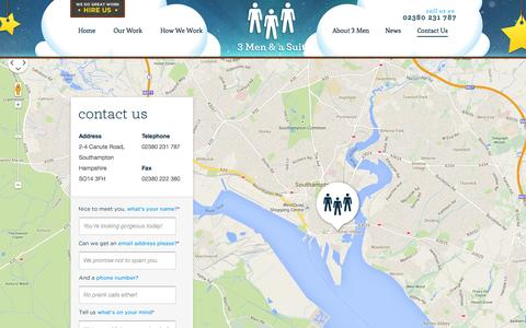 Screenshot of Contact Page 3men.co.uk - Contact the UK's favourite design studio - captured Oct. 7, 2014