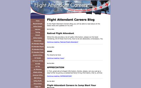 Screenshot of Blog flight-attendant-careers.com - Flight Attendant Careers Blog - captured Oct. 30, 2014