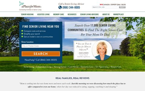 Screenshot of Home Page aplaceformom.com - Senior Assisted Living Guides: Find Senior Care A Place for Mom - captured Oct. 1, 2015