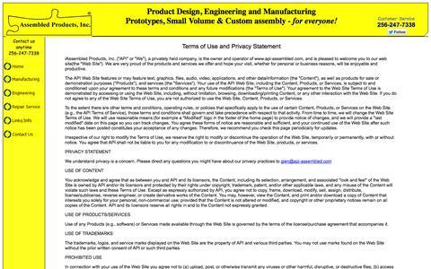 Screenshot of Terms Page api-assembled.com captured Oct. 5, 2014