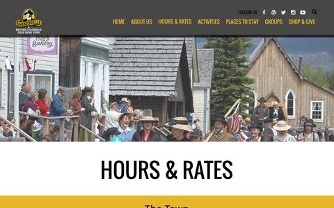 Screenshot of FAQ Page barkerville.ca - Hours & Rates - captured Feb. 7, 2016