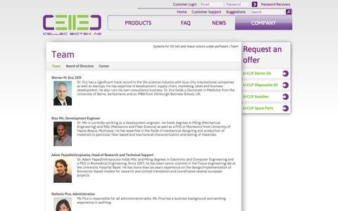 Screenshot of Team Page cellecbiotek.com - Cellec Biotek - Team - captured Oct. 1, 2014