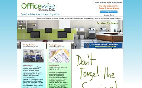 Screenshot of Services Page bakerofficeproducts.com - Office Design/Printing Services in Lubbock, Texas - captured July 28, 2016