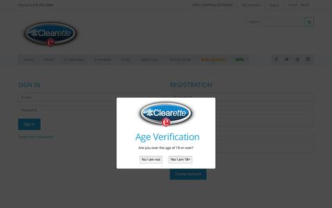 Screenshot of Signup Page clearette.com - Create New Customer Account - captured July 21, 2015